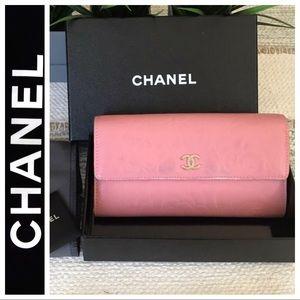 Chanel Pink Embossed Camelia Lambskin Wallet